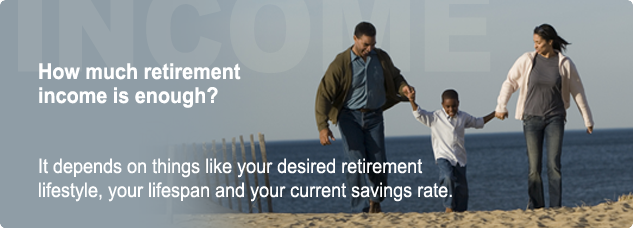 How much retirement income is enough? It depends o things like your desired retirement lifestyle, your lifespan and your current savings rate.